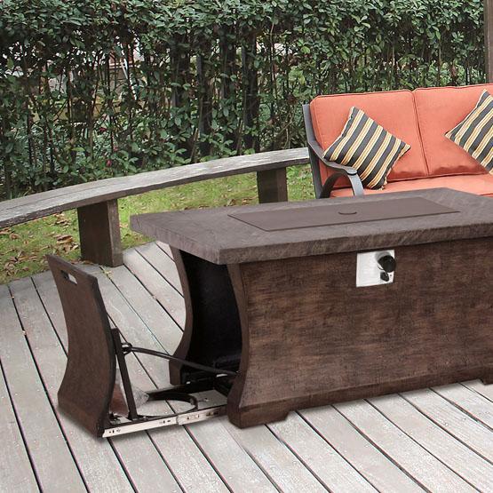 Table Foyer Extérieur : Table de foyer extérieur rectangulaire au gaz propane