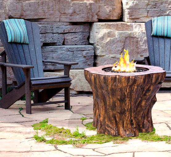 Faux wood log propane gas fire pit table