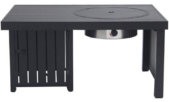 Black rectangular gas fire pit with stainless steel burner