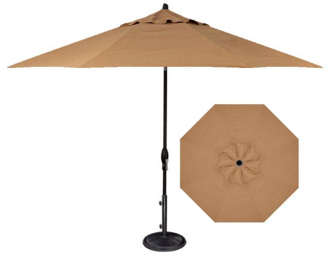 9 foot Straw beige coloured fabric patio umbrella