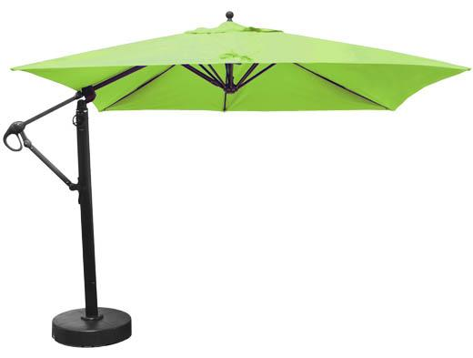 10 Foot Square Offset Patio Umbrella With Lime Green Sunbrella Fabric ...