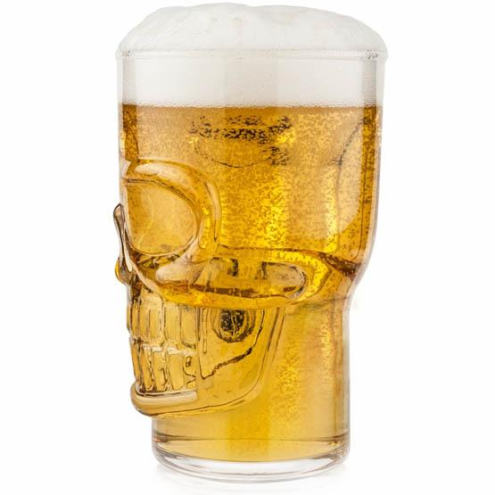 Glass skull beer mug skeleton head stein