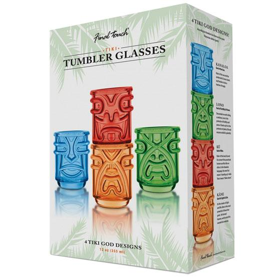 Set of 4 stackable bar tumbler Tiki glasses