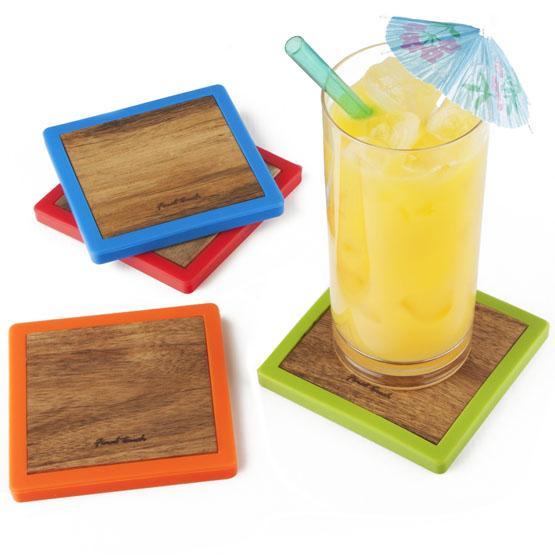 Ensemble de 4 sous-verres Tropicaux en bois colorés