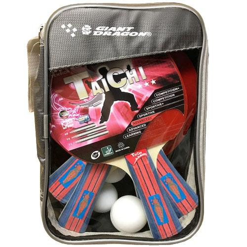 Taichi 4 player ping pong paddle kit with balls and case