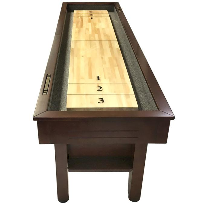 9 foot Walnut finish Majestic Shuffleboard game table