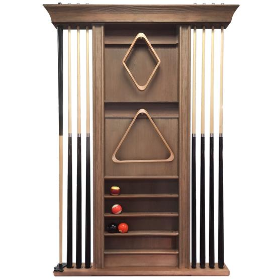 Rustic Walnut wall mounted pool cue rack