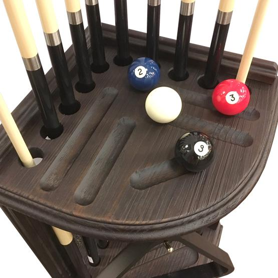 Corner pool cue rack in rustic black finish