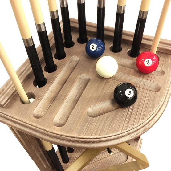 Corner pool cue rack in rustic Walnut finish