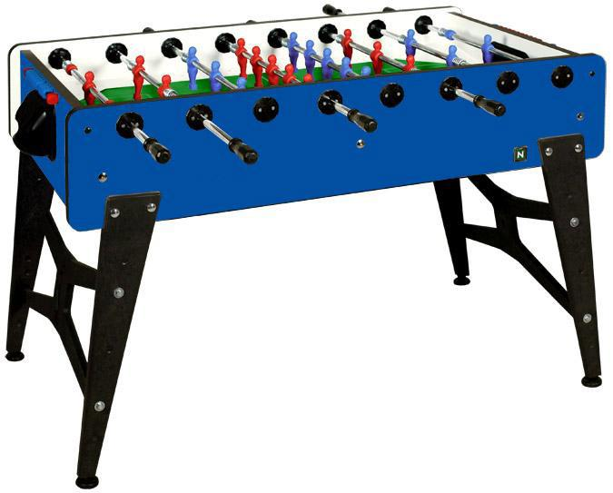 Blue foosball soccer table made in Italy with 2 year warranty telescopic rods