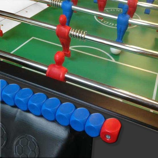 Black foosball soccer table made in Italy with 2 year warranty telescopic rods