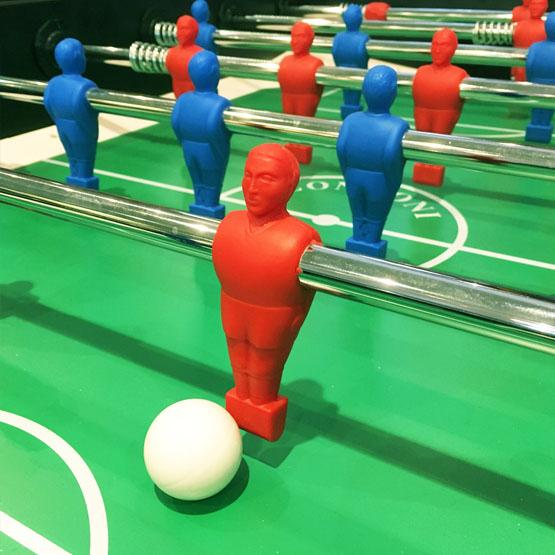 Red foosball soccer table made in Italy with 2 year warranty telescopic rods
