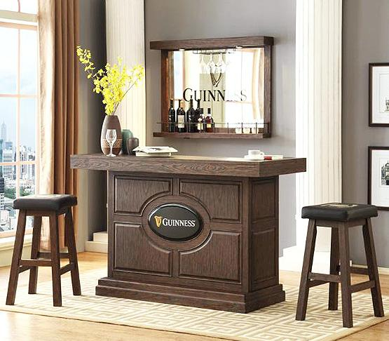 Guinness 65 inch solid wood bar in Walnut finish
