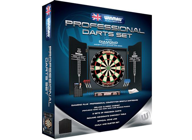 Professional quality complete dartboard, darts and cabinet set