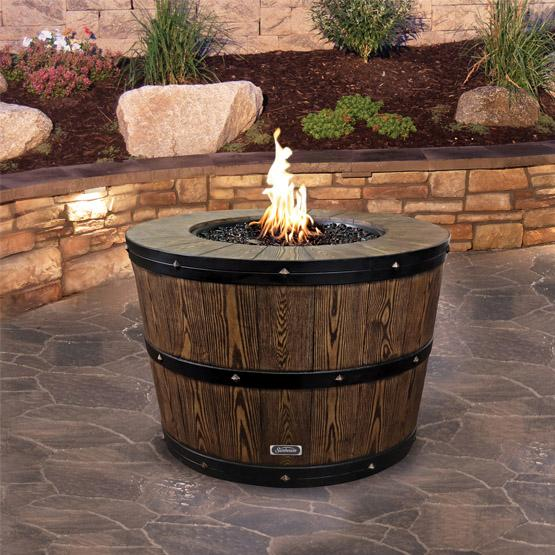 Wine barrel shaped outdoor firepit table