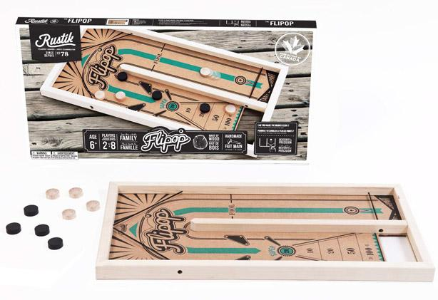 Rustik Flipop wooden board game similar to shuffleboard