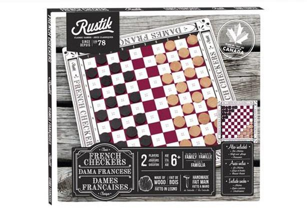 Classic wooden French checkers game