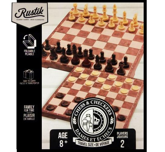 Portable magnetic chess and checkers game board set