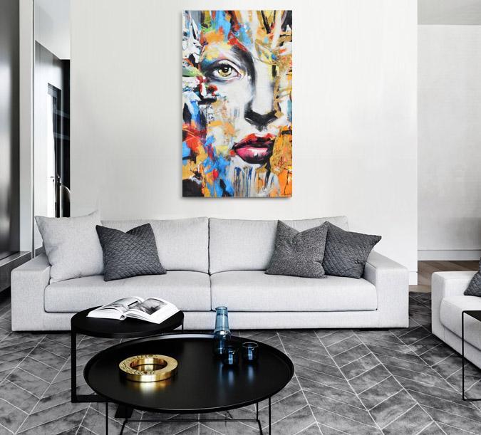 Grand décor mural abstrait de visage vertical 36 x 60