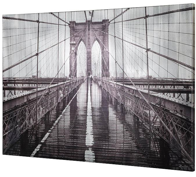 Large 60 x 30 inch Brooklyn Bridge painted canvas print