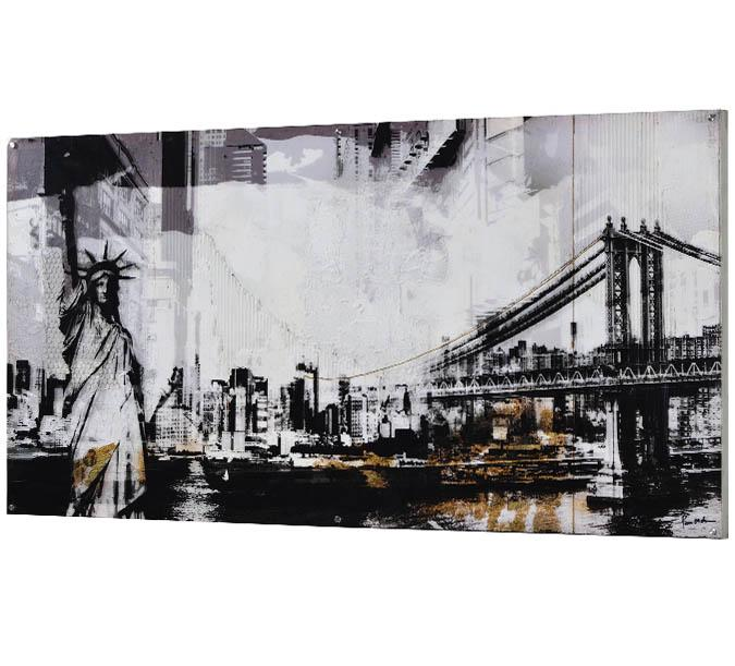 Large 60 x 30 inch Allora New York print painted canvas