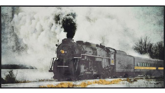Grand cadre 60 x 30 pouces de train sur canevas peint