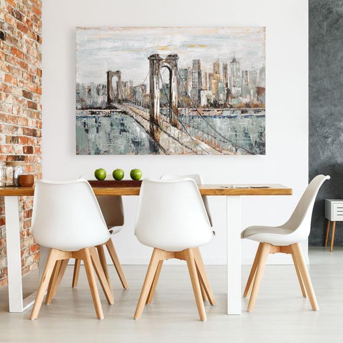 Large 59 x 39 inch painted canvas print of bridge
