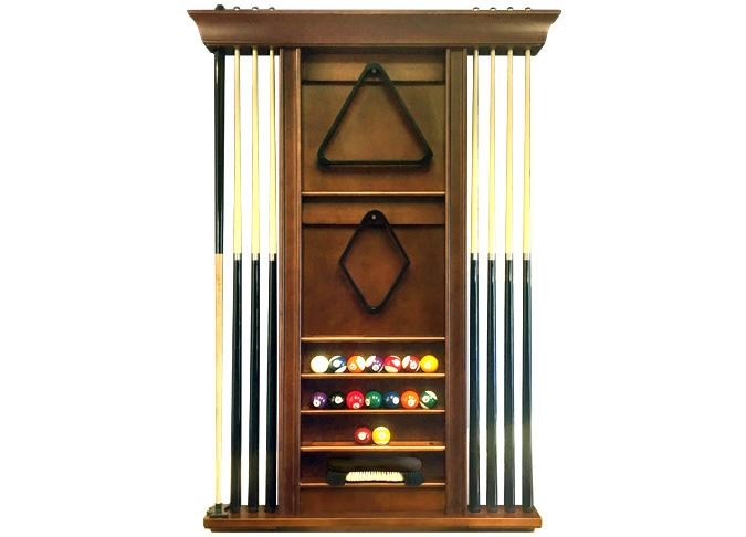 Combo Walnut finish 8 pool cue and accessories rack