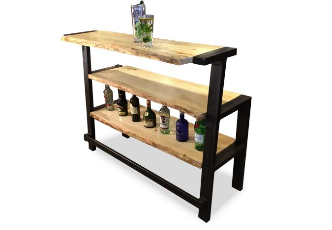 Live edge wood and steel bar with storage shelf