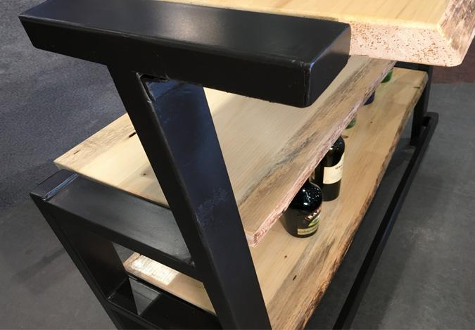 Live edge wood and steel bar with storage shelf