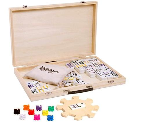 Mexican Train Domino game set in wooden carry case