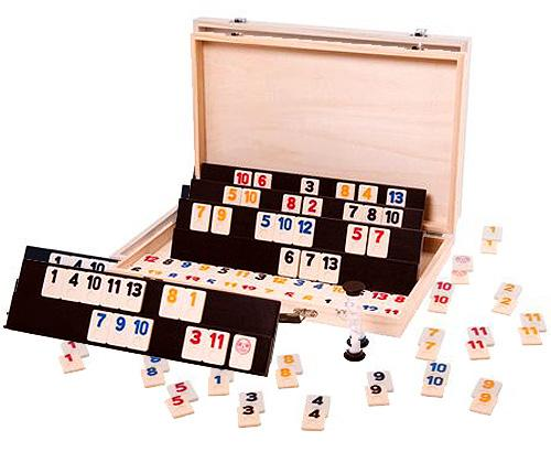 Rummy game set with wooden carry case