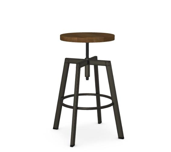 Amisco Architect industrial barstool with adjustable seat