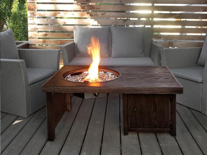 Brome brown aluminum wood grain fire table