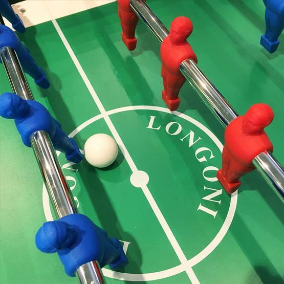 White foosball soccer table made in Italy with 2 year warranty telescopic rods