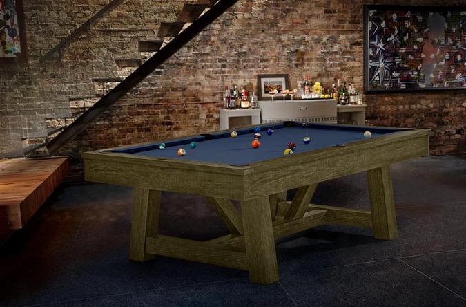 Table de billard brun rustique Brunswick Botanic 8 pieds