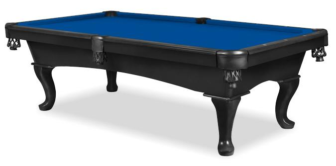 Joliette Black 8 foot pool table with Queen Anne leg