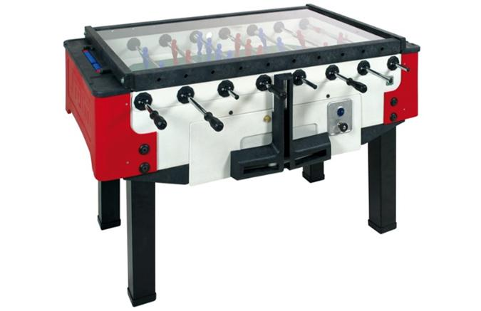 Outdoor commercial foosball soccer table with coin mechanism