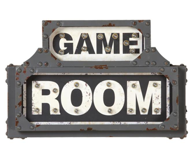 Game Room illuminated metal sign