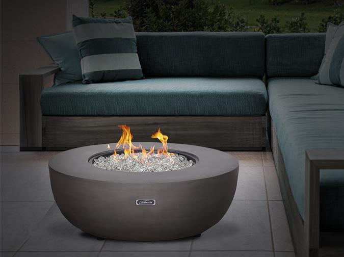 Rougemont round Fire table with concrete grey finish