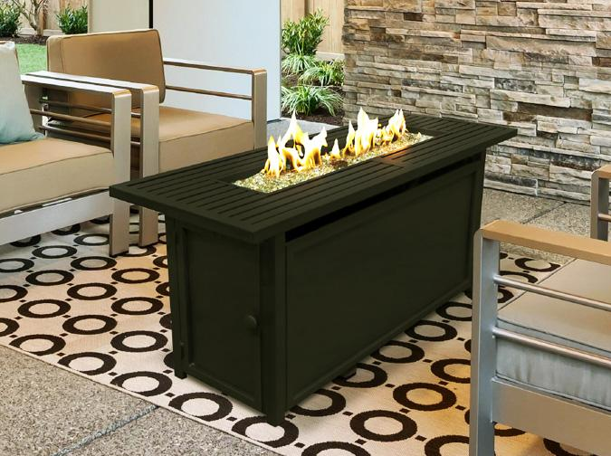 Lacolle rectangular Fire table with black finish
