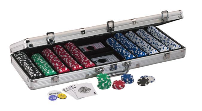 Valise de 500 jetons de poker réguliers