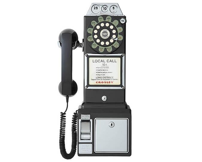 Téléphone retro 1950 de style antique noir