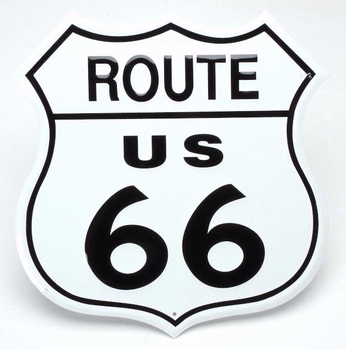Enseigne en métal Route 66 - petit format