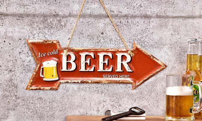 Enseigne en métal flèche bière look rustique