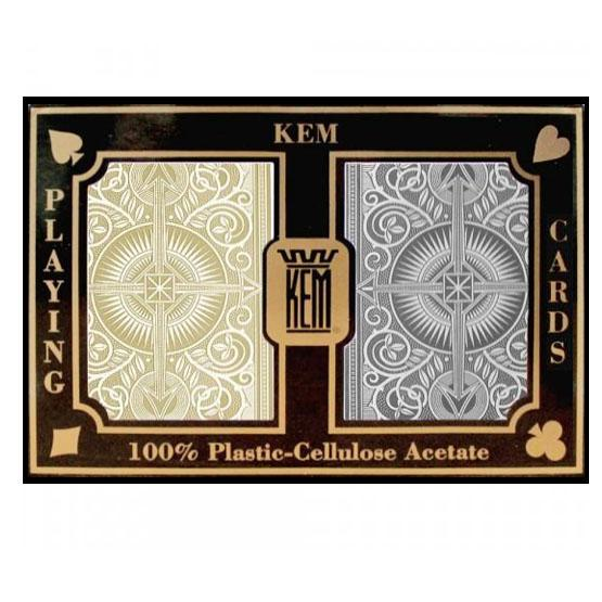 Kem Black and Gold plastic playing cards