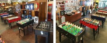 We stock several dozen foosball soccer game tables in a wide varety of colours as well as some model specifically designed for outdoor use.