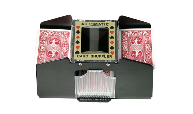 Battery operated automatic card shuffler for 4 decks