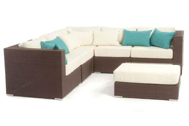 Liana 6 piece modular Java sectional patio furniture set