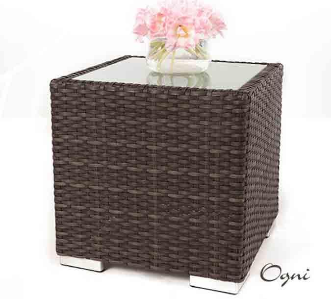 Wicker End Table with Glass for Outdoor Patio Set